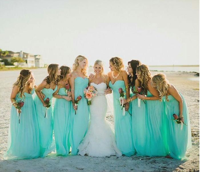 Damas de honor azul Tiffany
