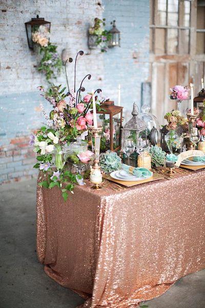 bodas color bronce mantel purpurina