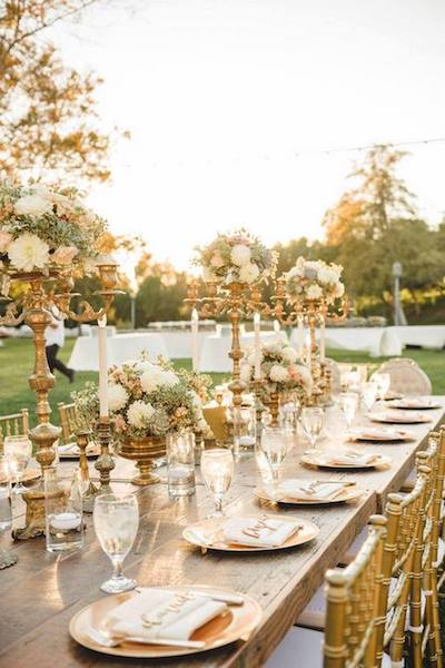 decoración boda bronce
