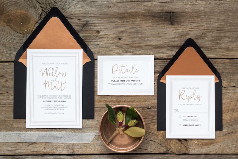 invitaciones color bronce