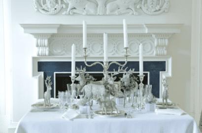 Mesa Navidad blanco y plata