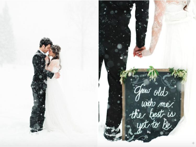 Novios boda nieve
