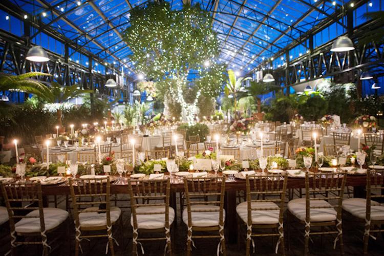 boda invernadero noche