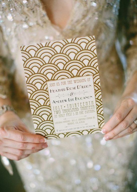 boda art decó invitación