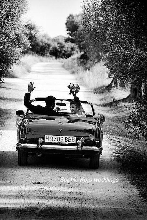 fotos de boda coche novios