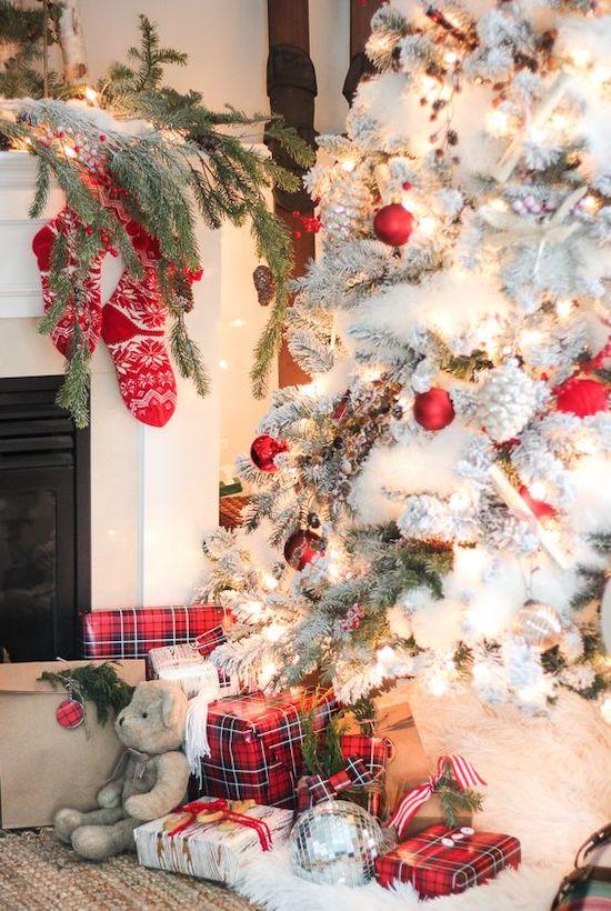 decoración Navidad rojo y blanco