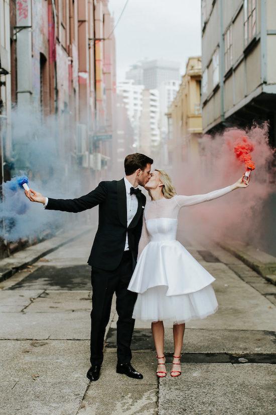 Momentos especiales boda humo colores