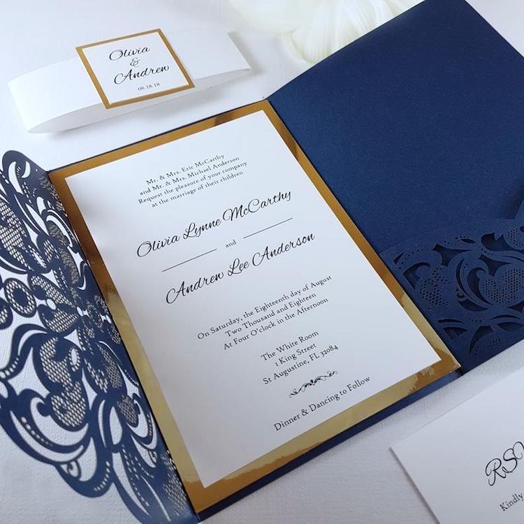 invitaciones elegantes bodas 2020 classic blue